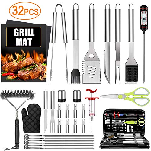 34PCS BBQ Grill Accessories Tools Set, Stainless Steel Grilling Tools with Carry Bag, Thermometer, Grill Mats for…