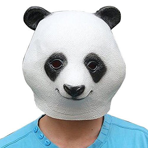 Strong Female Halloween Costumes (Novelty Cute Creepy Rubber Latex Strong Animal Face Head Mask Halloween Party Costume Decorations for Adult Men Women (Panda))