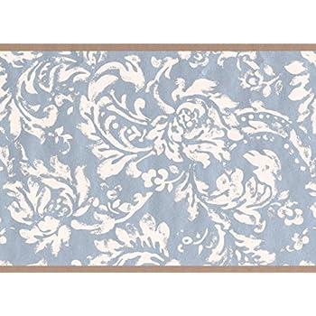 Modern White Floral Pattern Blue Damask Wallpaper Border Vintage Design Roll 15 X 6