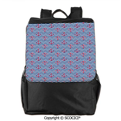 Lightweight School Bag, Geometric Design with Anchors Silhouettes on Zigzag Lines Wavy Background Decorative,Backpack Men & Women School Travel,19 OZ ()