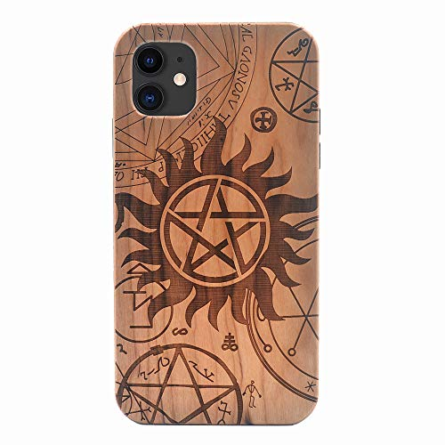 iPhone 11 Wood Case 2019, Supernatural Pentagram Star Handmade Carving Real Wood Case Wooden Case Cover with Soft TPU Back for iPhone 11 (6.1 inch)