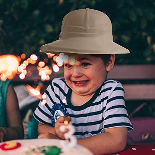 FunLand 12 Pack Safari Party Hats Plastic Jungle Theme Animals Explorer Pith Halloween for Kids Beige