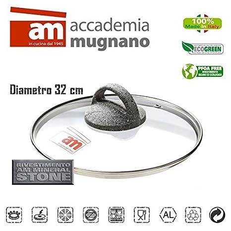 Tapa vidrio 32CM ollas cacerolas y sartenes - Accademia Mugnano CUORE DI PIETRA: Amazon.es: Hogar