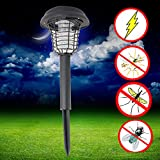 Enshey 110V Mosquito Zapper Lawn Lamp Summer UV LED Solar Powered Outdoor Yard Garden Lawn Anti Mosquito Insect Pest Bug Zapper Killer Trapping Lantern Lamp Light
