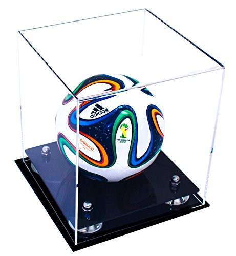 Deluxe Clear Acrylic Mini - Miniature (not Full Size) Soccer Ball Display Case with Silver Risers (A015-SR)