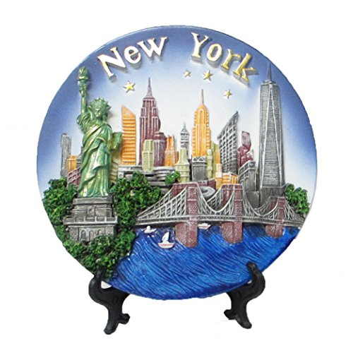 New York Souvenir 3D Plate with Statue of Liberty, Empire State Building, Chrysler Building, Freedom Tower, Brooklyn Bridge 6 Inches - 5th Avenue Nyc On Stores