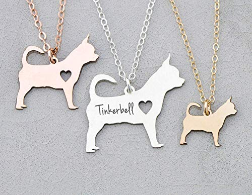 Teacup Chihuahua Dog Necklace - IBD - Personalize Name Date - Pendant Size Options - 935 Sterling Silver 14K Rose Gold Filled Charm - Fast 1 Day Production