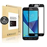 Galaxy J7 Sky Pro,[2 PACK] Linboll Tempered Glass Screen Protector (Full Screen Coverage),[Easy Installation][Bubble Free] for Samsung Galaxy J7 V/J7 Perx/J7 Sky Pro/J7[5.5 Inch](2017 Released) black