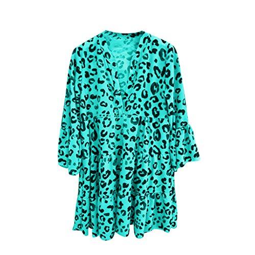 Women Leopard Print Dress Stylish Ladies Casual Loose V-Neck Three Quarter Flare Sleeve Draped Ruffle Summer Beach Party Mini Dress