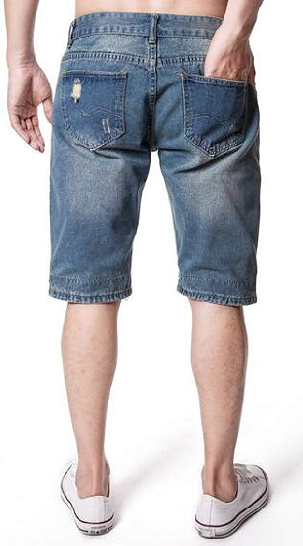 CRYYU Men Ripped Straight Leg Summer Casual Slim Fit Denim Shorts Jeans