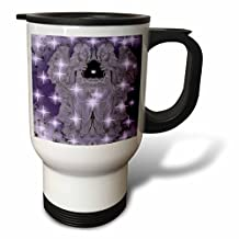 tm_77143_1 WhiteOak Christmas Designs - Lavender Angels with Twinkle Stars - Travel Mug - 14oz Stainless Steel Travel Mug