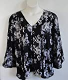 Shoulder Shirt Side Opening Post Surgery Shirt ~ Shoulder- Mastectomy - Breast Cancer/Adaptive Clothing- Hospice, Seniors/Rehab - Black/Gray Floral -Style Kiley