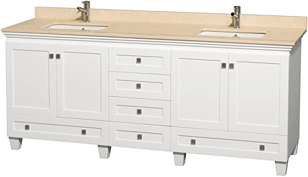 Wyndham Collection Acclaim 80 Inch Double Bathroom Vanity In White Ivory Marble Countertop Undermount Square Sinks And No Mirrors Amazon Com