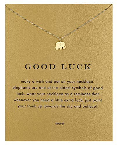 SEWEI Friendship Clover Necklace Unicorn Good Luck Elephant Cross Starfish Swan Necklace Message Card Gift Card (Gold Elephant)