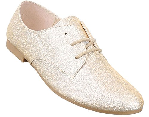 Damen Halbschuhe Schuhe Schnürer Elegant Schwarz Schwarz Rot Gold Silber Weiß 36 37 38 39 40 41 Gold