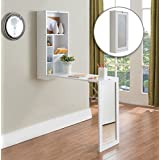 Kings Brand White Finish Wood Fold-Out Convertible Wall Mount Desk With Mirror