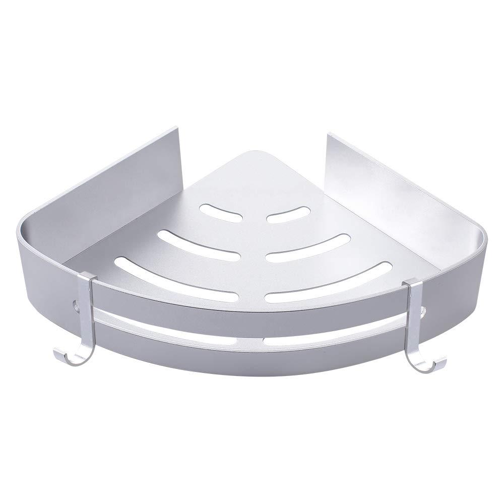 Aungzone Shower Shelf Wall Mount Rustproof Aluminum Drill Free Adhesive Bathroom Corner Caddy with 2 hooks(Silver)