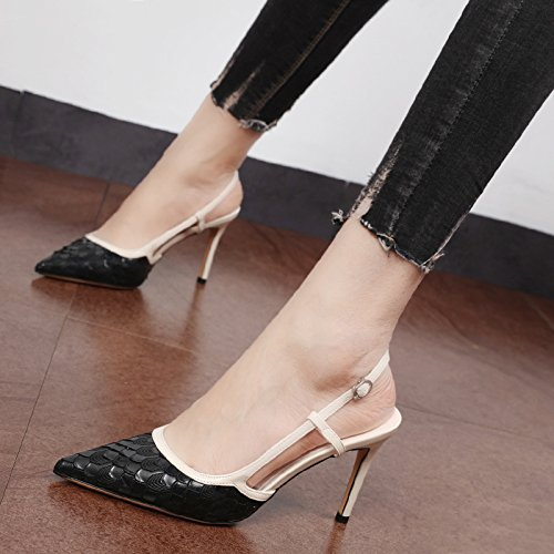 MOM baotou shoes wild with pointed high sexy heeled Ms sandals buckle Black shoes wqZCwnFr