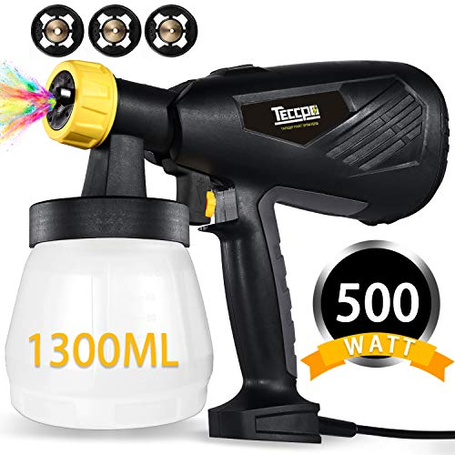 - Paint Sprayer, TECCPO 500 Watts 800ml/min HVLP Home Electric Spray Gun with 1300ml Detachable Container, 3 Pcs Copper Nozzles & 3 Spray Patterns, Adjustable Valve Knob for Home Decoration & DIY
