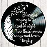 Blackbird song lyric art/inspired by Beatles/Vinyl Record Album Wall Decor
