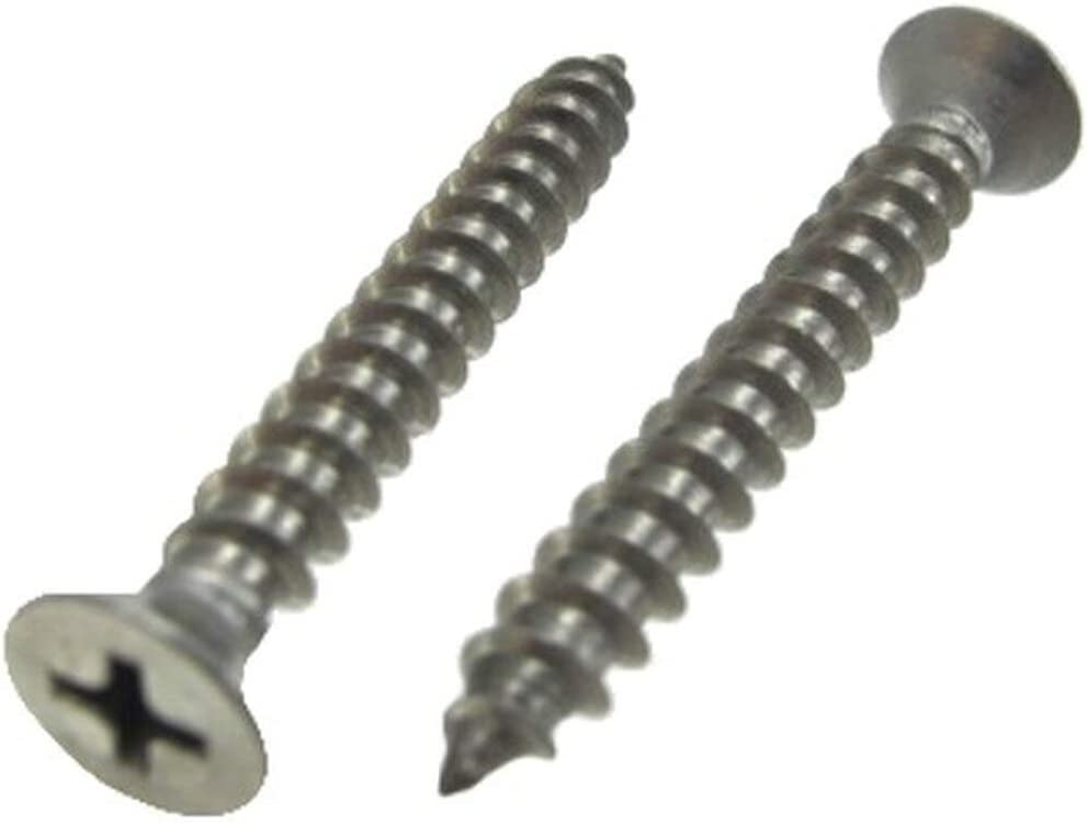 """# 12 X 1-1/4"""" Stainless Steel Flat Head Phillips Sheet Metal Screws (Kasten von 100)"""