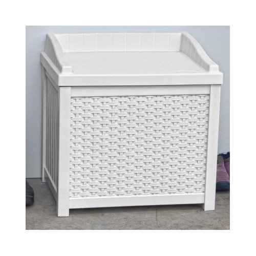 White Wicker Deck Seat Storage Box Outdoor Storage Bench