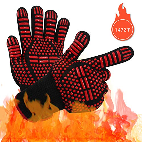 Vaupan 1472°F Extreme Heat & Fire Resistant BBQ Gloves, Professional Kevlar Nomex Oven Mittens, Silicone Non-slip Cooking Mitts for Grilling Welding Baking Kitchen Microwave (1 Pair, Medium - 12 Inch) (Gloves Kevlar Nomex)