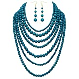 Rosemarie Collections Women's Fashion Jewelry Set Beaded Multi Strand Bib Necklace (Teal)