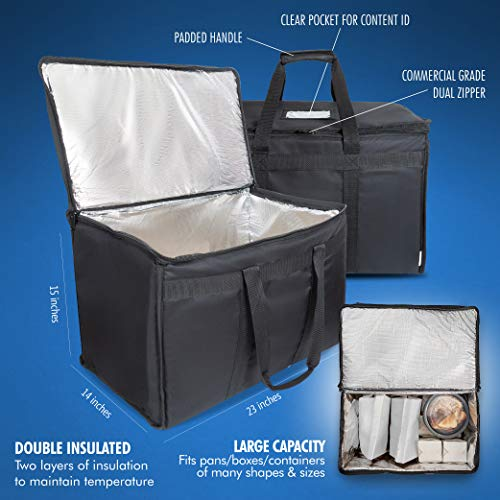 """Food Delivery Bag. Heavy Duty Bag with Strong Insulation. Reinforced Stitching for Heavy Loads. Perfect for Food Delivery & Commercial Transportation. Fit Chafing Trays. Large Capacity (23""""x14""""x15""""). by Trust the Fresh (Image #1)"""