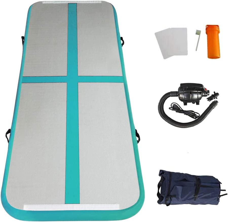 EZ GLAM 10ft/13ft/16ft/20ft Air Mat Tumble Track Inflatable Gymnastics Tumbling Track Mat with Electric Air Pump for Cheerleading/Practice Gymnastics/Beach/Park/Home use