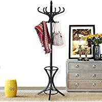 Wood Standing Hat Coat Rack w/ Umbrella Stand - By Choice Products (Black)