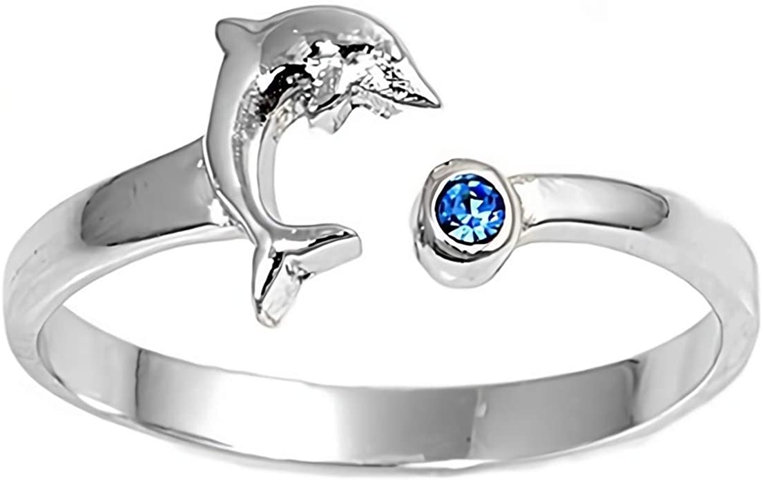 925 Sterling Silver White Clear Diamond CZ Stone Dolphin Toe Ring