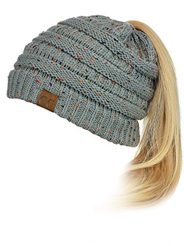 C.C BeanieTail Soft Stretch Cable Knit Messy High Bun Ponytail Beanie Hat, Confetti Natural Gray