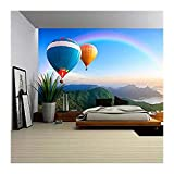 wall26 Colorful Hot-Air Balloons Flying over the Mountain - Removable Wall Mural | Self-adhesive Large Wallpaper - 66x96 inches