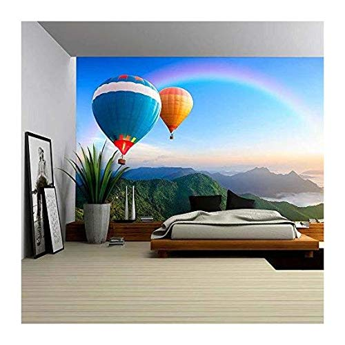 wall26 Colorful Hot-Air Balloons Flying over the Mountain - Removable Wall Mural | Self-adhesive Large Wallpaper - 66x96 inches by wall26