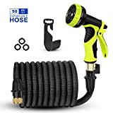 AIMEN 2018 Upgraded Expandable Garden Hose,Best 75 FT Flexible Water Hose with 9 High Pressure Spray Nozzle,Solid Brass Connector Fittings no Rust&Leak, Double Latex Core&Extra Strength (75FT)