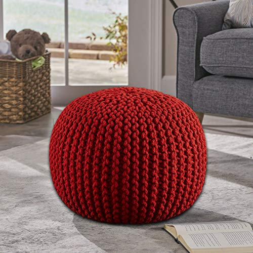 Frenish Décor Hand Knitted Cotton Ottoman Pouf Footrest 20x20x14 INCH, Living Room Accent seat (Red) (Knitted Poofs)