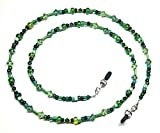 Peridot Erinite Austrian Crystal Green Bead Mix Eyeglass Chain