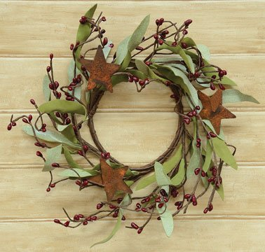 - Rusty Star & Burgundy Pip Berries Wreath Country Primitive Floral Décor