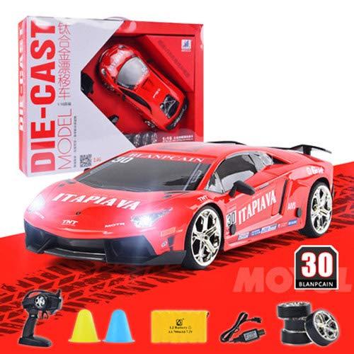Pinjeer プロフェッショナルRcリモートコントロール車合金ドリフトカー大人の四輪駆動高速レーシングカー充電式の男の子のおもちゃの車のプレゼントキッズ6 + (Color : Blue, サイズ : 1-Battery) B07R226WMQ Red 3-Battery 3-Battery|Red