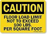 SmartSign ''Caution: Floor Load Limit 100 Lbs/Square Foot'', Aluminum Sign, 10'' x 14''