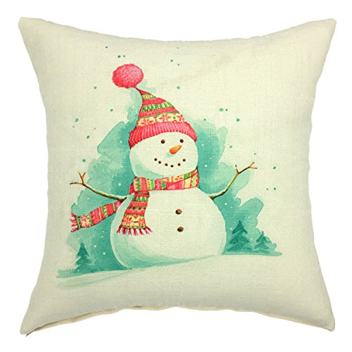 YOUR SMILE Christmas Snowman Cotton Linen Square Decorative Throw Pillow Case Cushion Cover 18x18 Inch (Snowman Throw Pillow)