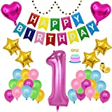 First Birthday Party Decoration for HER | Rainbow Theme | 1st Birthday Party | ONE Cake Topper | Happy Birthday Banner | 40 Inch 1 Mylar Balloon | Colorful Balloons | LeTime (Rose Red)