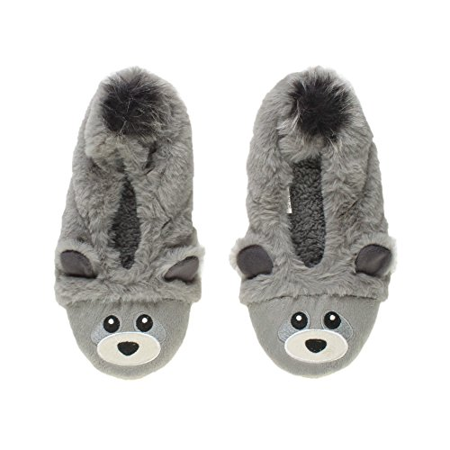 Womens Ladies Elastic Fleece Lined Cosy Fur Bear Raccoon Animal face Grip Slippers Socks Size Grey GmP69hZHMn