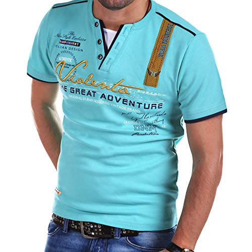 SFE Fashion Leisure Personality Fashion Mens Letter Button Personality Shirt Short Sleeve T-Shirt Tops Casual wear Light Blue]()