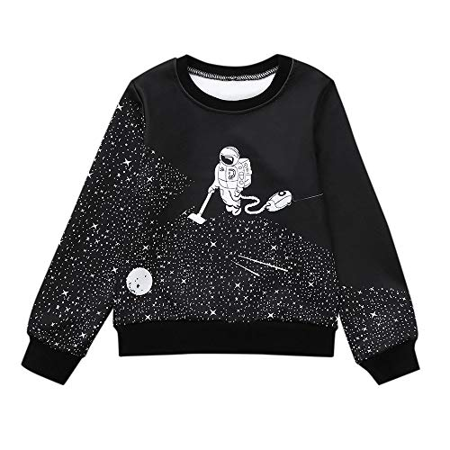 Baby Toddler Boy Girl Sweatshirt Fall Winter Clothes Kid Cartoon Space Astronaut Warm Tops Pullover 1-6 Years Old (18-24 Months, Black)