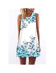 RAYWIND Newest Women Sleeveless Casual Summer Short Floral Print Dress