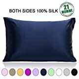 #6: 100% Pure Mulberry Slip Silk Pillowcase Standard Size 21 Momme 600 Thread Count for Hair and Skin With Hidden Zipper, Hypoallergenic Soft Breathable Both Sides Silk Pillow Case, 20×26inches, Navy Blue
