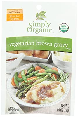 Simply Organic Vegetarian Brown Gravy, Seasoning Mix, Certified Organic, 1-Ounce Packets (Pack of 12)