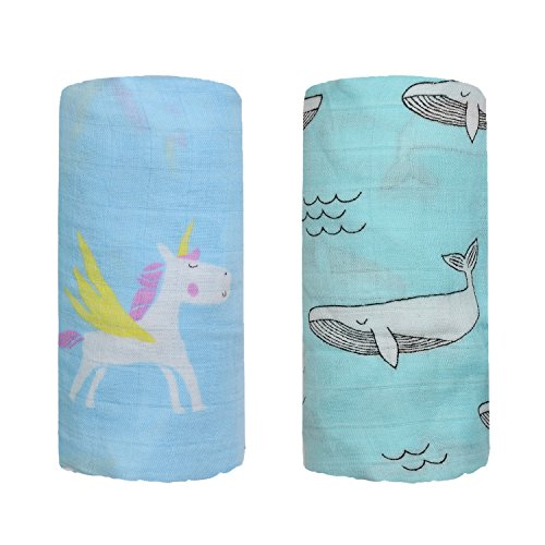 Bamboo Muslin Swaddle Square Blankets - 2 Pack 47x47 Horse & Whale Print Baby Receiving Blanket Wrap for Girl Shower Gift by Qav Juh (Horse & Whale)